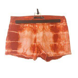 J Brand | Mid-Rise Raw Hem Red Tie-Dye Denim Short